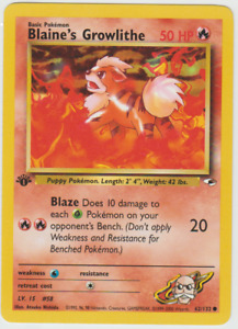 Tracking 1st Edition Gym Heroes Blaine's Growlithe 62/132 Fire Pokemon Card