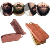 Unisex Foldable Wood Comb Folding Beard Moustache Gift Portable Anti-Static Easy