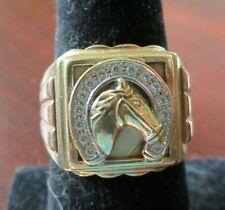 MENS 14K RING DIAMOND HORSESHOE AND HORSE HEAD RING