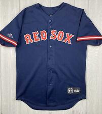 Boston Red Sox Majestic Blue Patch Letters MLB Baseball Jersey Mens Medium