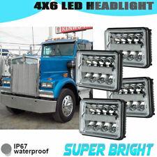 """4x6"""" Black LED Projector Headlights for Kenworth T800 T600 W900 Peterbilt WMF"""