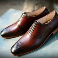 Handmade Leather Shoes Burgundy Italian Formal Party Oxfords Calf Skin Shoes