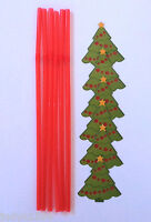 PACK OF 6 DRINKING STRAWS WITH CHRISTMAS TREE CUTOUTS FLEXIBLE RED CUTOUT PARTY