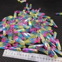 A Lot Titanium Rainbow Aura Lemurian Quartz Crystal Point Healing 100g 10-20pcs