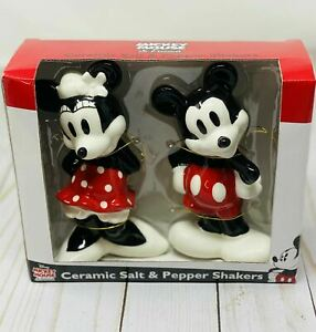 Disney Classic Mickey And Minnie Mouse New Ceramic Salt And Pepper Shaker Set