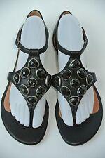NEW Corso Como Womens 8.5 M Black Leather Rhinestone T Strap Flip Flop Sandals
