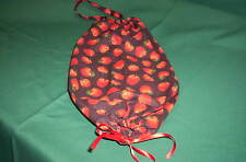New handcrafted  black/ red   apple print   hanging plastic grocery bag holder