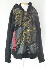 TOP HEAVY  Black Graphic Design Zip Front MEN'S HOODIE Sweatshirt JACKET Size XL