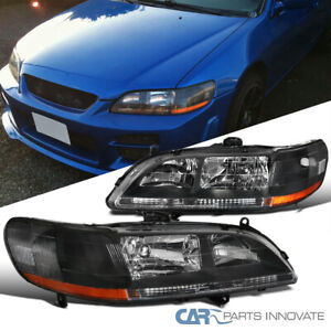 For 98-02 Honda Accord DX EX LX Matte Black Headlights Driving Lamps Left+Right