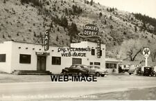 '50 TEXACO GAS STATION LOOKER'S DERBY HAT CAFE GLOBE PUMP PHOTO IDAHO SPRINGS CO