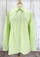 FOXCROFT womens size 20W Shirt shaped fit winkle free green white striped