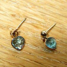 Baby, Infant, 10k Gold Heart Dangle Earrings W/Aquamarine? Stones
