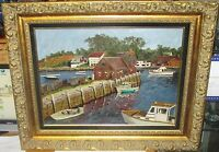"""EDWARD RANKIN """"MYSTIC SEAPORT CONNECTICUT"""" BOATS AT DOCK OIL ON CANVAS PAINTING"""