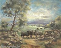 """Sundown Soon, Wooly Sheep"" Debra Sepos original oil 8"" x 10"" farm landscape"