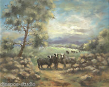 """Sundown Soon, Wooly Sheep"" Debra Sepos original oil 8"" x 10"" farm landscape"