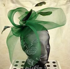 dark green feather headband fascinator millinery hat wedding ascot hair piece