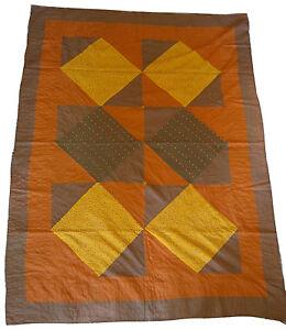 "Vintage Indian Kantha hand-stitched bedspread, orange/brown/yellow, 88"" x 65"""