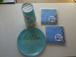 Lot Amscan Hello Spring 4 Assorted colors napkins, cups, plates