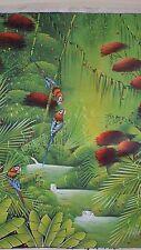 "Original quality HAITIAN art oil ""Tropical parrots"" by RICARDO FRUWCK"