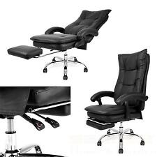 Bürostuhl Schwarz Fußstütze Kunstleder Schreibtischstuhl Chefsessel Drehstuhl