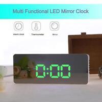 LED Digital Funk Wecker Alarm Alarmwecker Tischuhr Thermometer Snooze Spiegel
