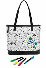 Doodlz Color Your Own Penguin Print Tote Bag Gift Set with Markers #7641