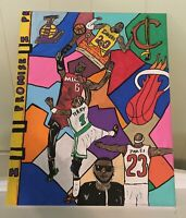 """LeBron James Famous Moments Collage Canvas Painting 16"""" x 20"""" (young artist) 1/1"""