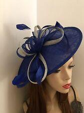Hatinator Cobalt Royal Blue Silver Saucer Fascinator Hat Wedding Formal Disc