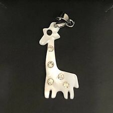 Carved White Giraffe Abalone Shell Pendant Charm Solid 925 Sterling Silver