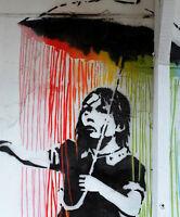 A0 A1 A2 A3 A4 poster print painting rainbow rain girl stencil Street Art