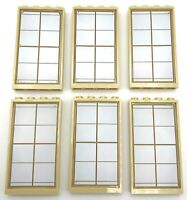 Lego 6 New Trans-Clear Glass Window 1 x 4 x 6 with Gold Lattice Panes Tan Frames