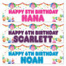 2 Personalised Birthday Banner Balloon Children Adults Party Decorator Poster
