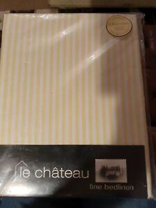 Le Chateau Fine Bedlinen Super King Cotton Platform Valance sheet Yellow Stripe