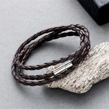Men Handmade Leather Braided Surfer Wristband Bracelet Bangle Steel Clasp