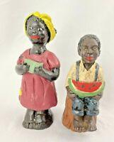 VINTAGE  Black Kids at play   JP WOODEN CARVED FIGURINES OLD TIME PEOPLE