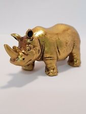 """Feng Shui Rhinoceros Statue Gold """"Strength & Protection"""" 40mm - includes story"""