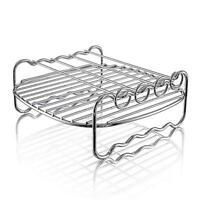 US DIY Double 2Layer Grill Rack 4 Skewer for Electric Air Fryer Deep Fryer Parts