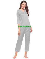 Stylish Women Satin Casual Sleeve Lounge top and pant two-piece set Sleep wear