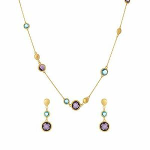 Silverly Gold Plated .925 Sterling Silver Blue Purple Gem Necklace Earrings