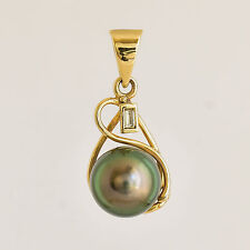 TAHITIAN PEARL 9K 375 GOLD PENDANT 9.5mm CULTURED BLACK PEARL REAL DIAMOND NEW
