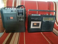 SANYO 2x LOT M250F AND M2420 RADIO CASSETTE PORTABLE PLAYER VINTAGE 70S