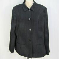 Tahari Arthur S Levine Blazer Size 16 Black Pinstripe Suit Jacket Lined Padded