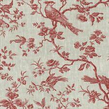 Textiles français The Regal Birds Toile de Jouy Linen fabric - Bordeaux Red