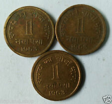 1 Naya Paisa Coin 1963 Bombay, Culcutta, Hyderabad - 3 Mints Complete Set