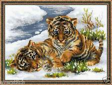 "RIOLIS Cross stitch kit ""Tiger Cubs in Snow"" art. #1564"