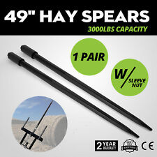 Two 49 3000 lbs Hay Spears Nut Bale Spike Fork Pair Load Hay Attachment Nut