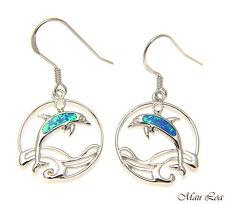 925 Sterling Silver Rhodium Hawaiian Circle Wave Dolphin Opal Hook Wire Earrings