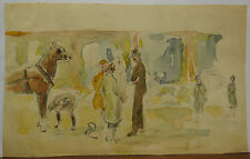 Dessin Original Aquarelle PAUL COUVREUR - Hippodrome manifestations 1930 - PC22