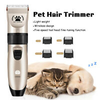 Pro Quiet Electric Pet Clipper Dog Cat Hair Trimmer Comb Grooming Clippers  #