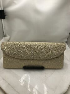 Gold Crepe Clutch Handbag Purse